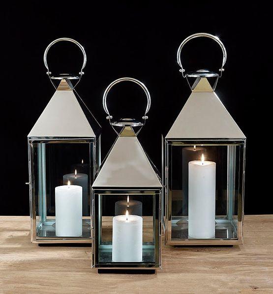 Chrome lantarns kaarsen dekocandle kaarslicht sfeer for Lanterne d arredo