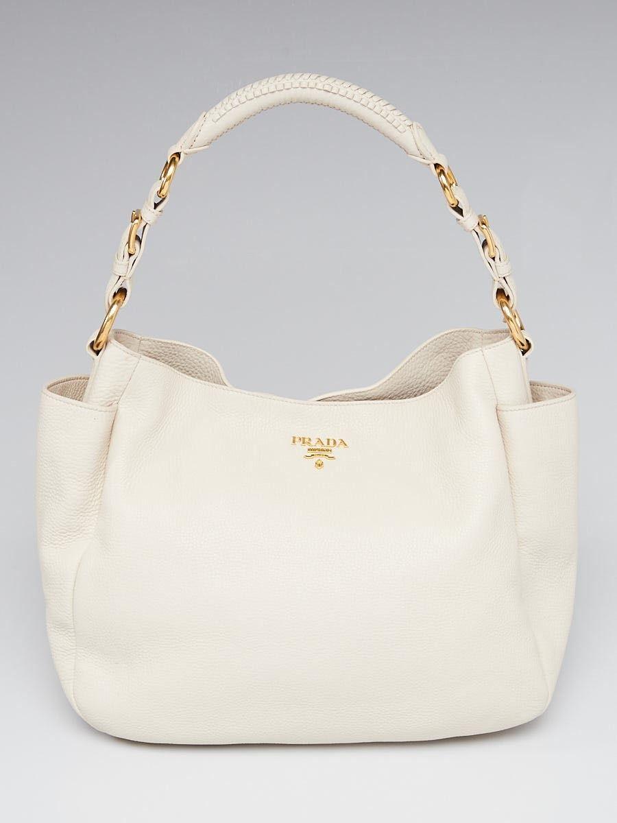 99fc3eb2bbd2 Prada Talco Vitello Daino Leather Double-Pocket Hobo Bag BR4863 | My ...