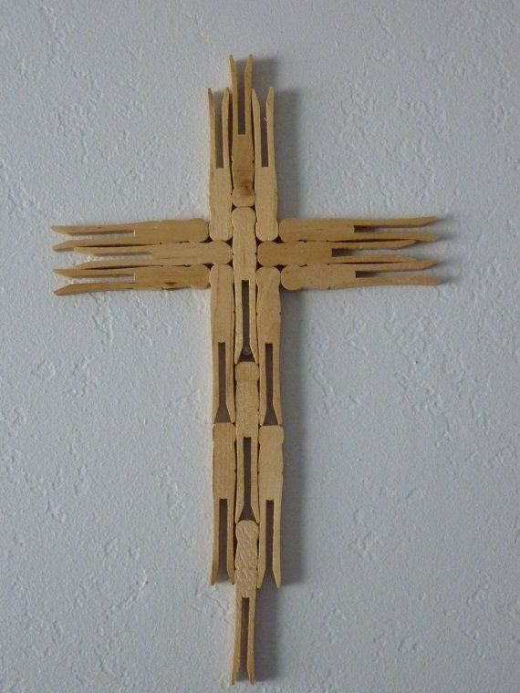 Folk Art Primitave Clothes Pin Cross Small by ...
