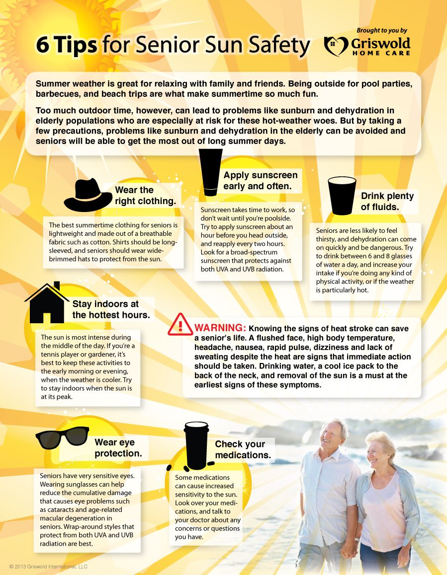 Thank you to Griswoldhomecare for this Infographic: 6 Tips for Senior Sun Safety. #