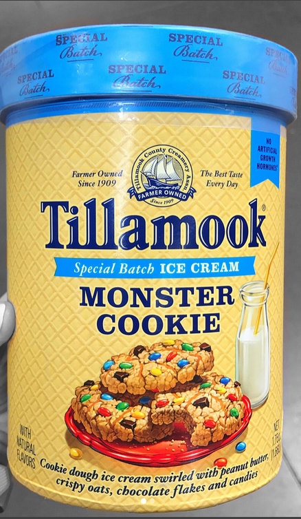 Tillamook Monster Ice Cream W Cookie Dough Swirled With Peanut Butter Crispy Oats Chocolate Flakes And Candies