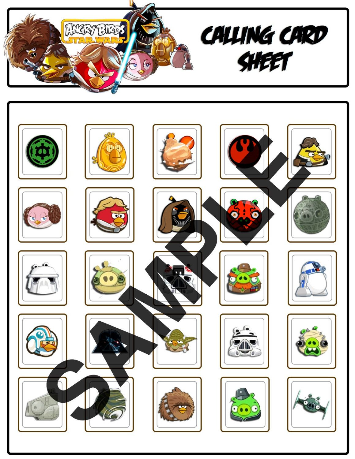 Bingo Angry Birds Star Wars Party Game Cards 5 00 Via