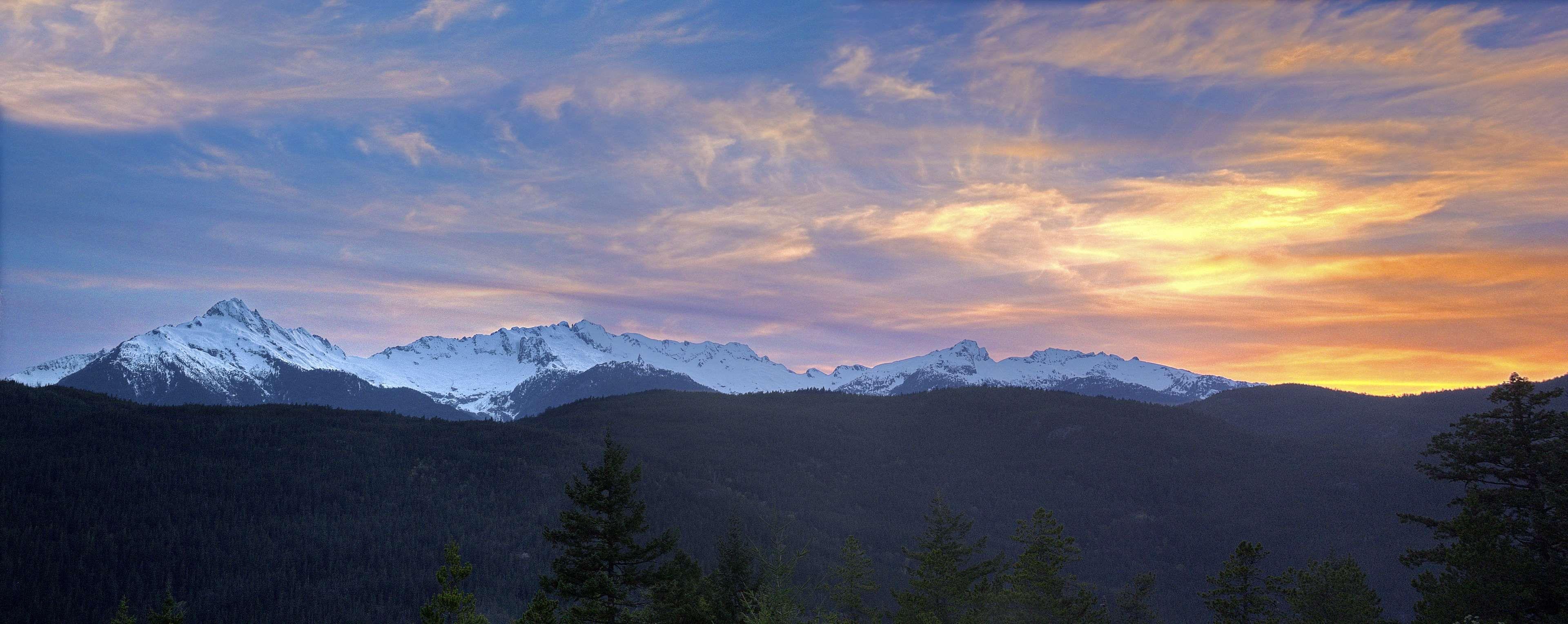Dawn Dusk Landscape Mountain Range Mountains Nature Outdoors Panoramic Sky Snow Sunrise Sunset Winter 4k Wallpaper