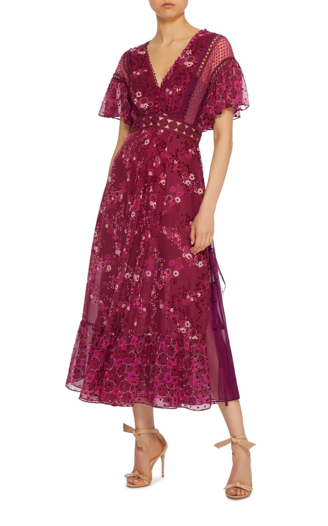 e5d352d00454 Floral-Print Devore Midi Dress by Self Portrait | Dresses | Floral ...