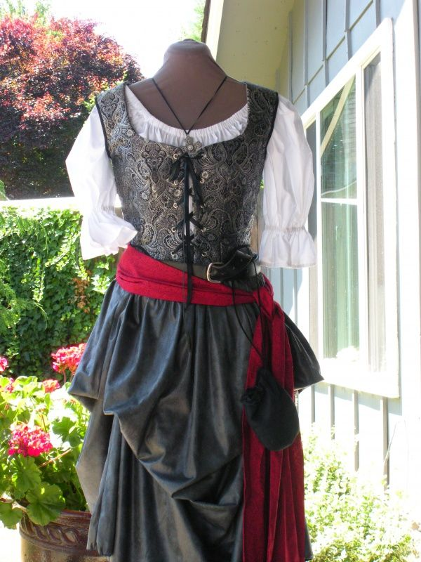 Pirate Wench Vest Black/Silver Brocade | Handmade Pirate Garb | Pieces of Eight Costumes & Pirate Wench Vest Black/Silver Brocade | Handmade Pirate Garb ...