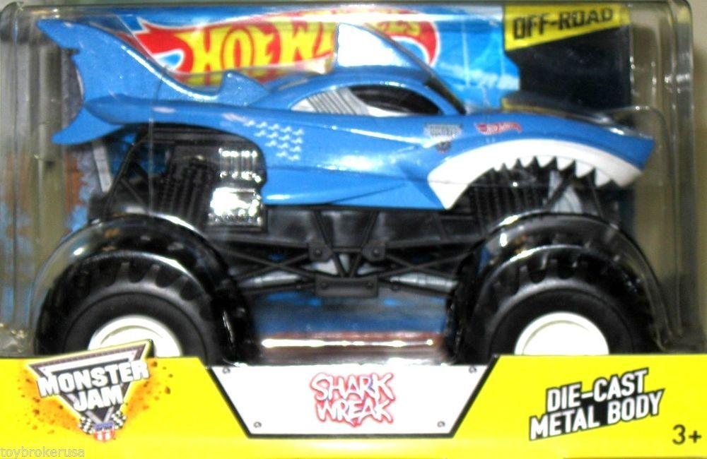 Shark Wreak Monster Truck Hot Wheels 2014 Monster Jam 1 24 Scale Off Road New Hotwheels Hotwheels Hot Wheels Monster Trucks Monster Jam