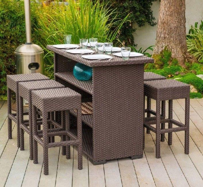 patio bar set 7 piece brown wicker outdoor dining party drink high rh pinterest com