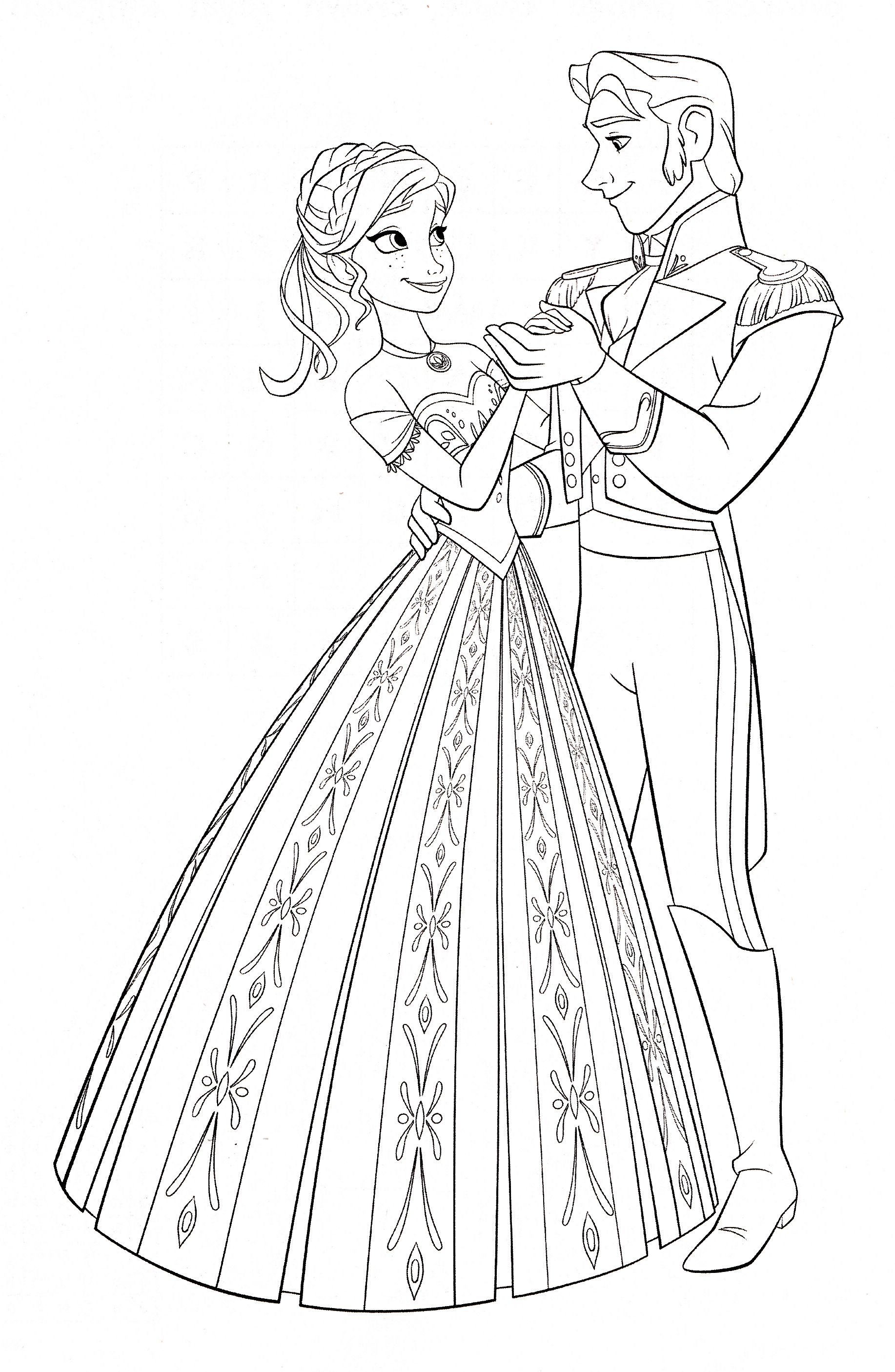 Walt Disney Coloring Pages Princess Anna Amp Prince Hans