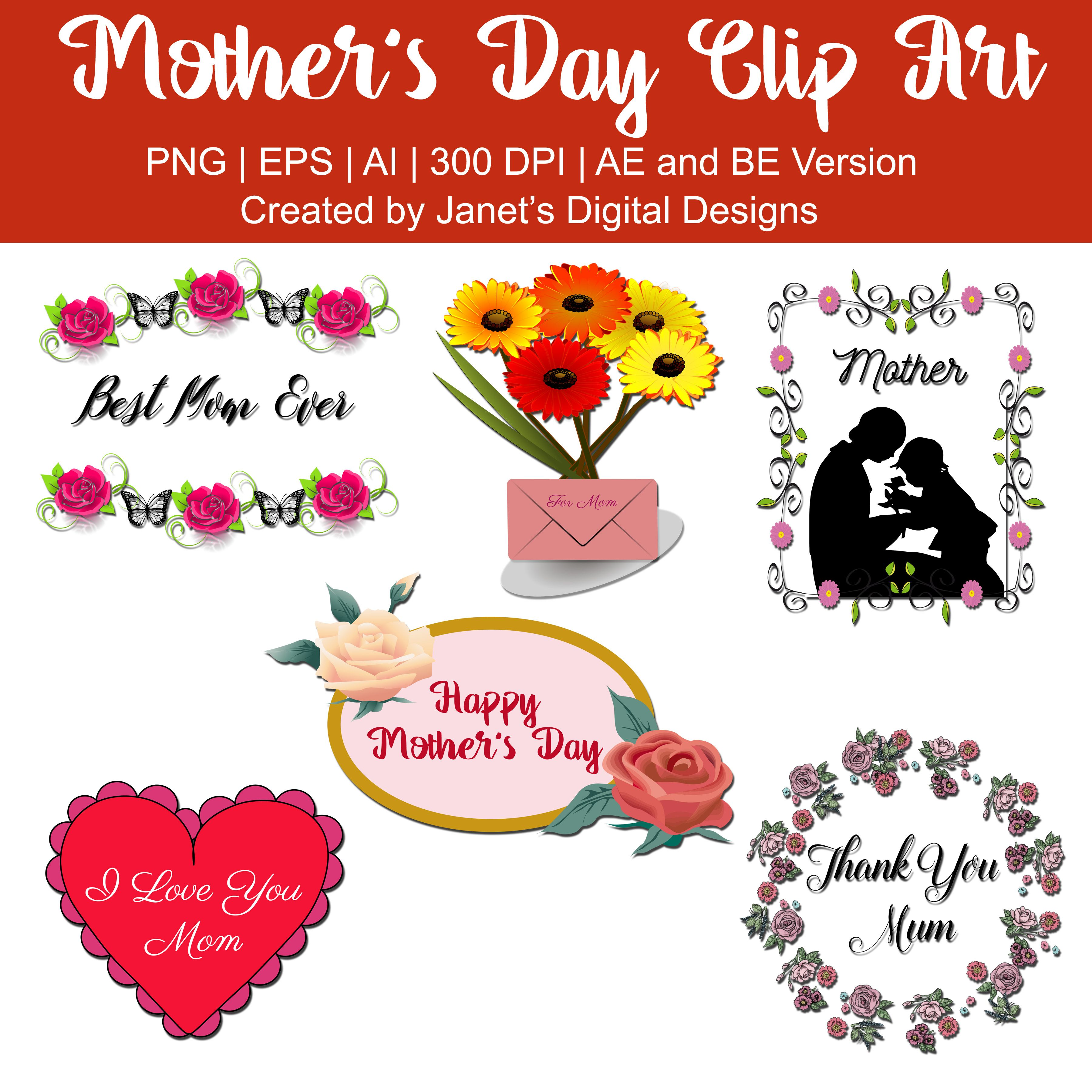 A Set Of 6 Mother S Day Clip Arts Containing A Best Mom Ever Best Mum Ever Clip Art A Bouquet With Envelope Cl Mother S Day Clip Art Clip Art Heart Clip Art