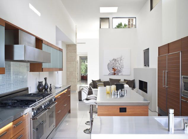 Palm Springs residence large galley kitchen with centered kitchen ...