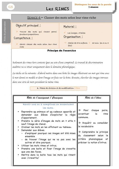 Séance n°4 sur les RIMES (La classe de Luccia !)   School ...
