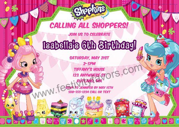 Shopkins Birthday Party Invitations 100 each httpwww