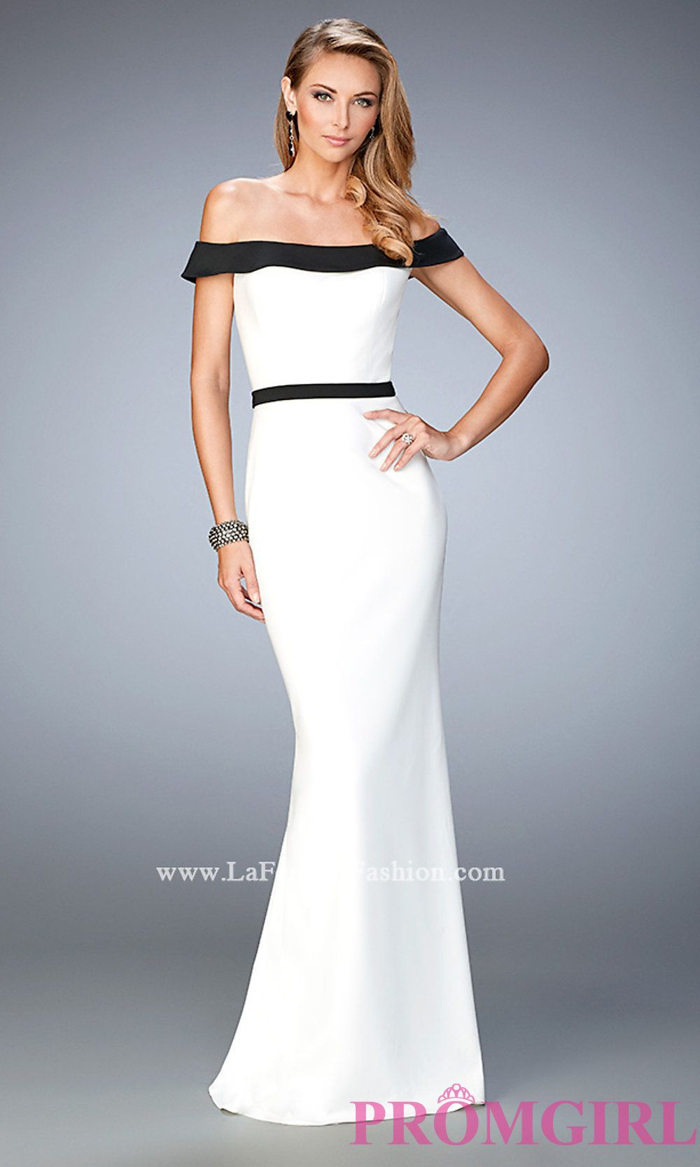 Off the Shoulder White and Black La Femme Dress Style: LF-22138 ...