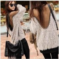 Fur Backless Sweater