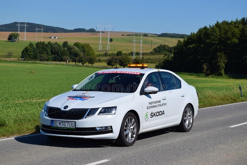 SENICA SLOVAKIA - SEPTEMBER 212019: Pro cycling team cars . Tour de Slovakia o #sponsored #