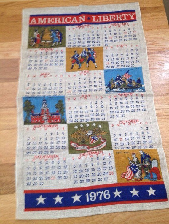 Bicentennial 1976 Calendar Tea Towel Products Pinterest Towel