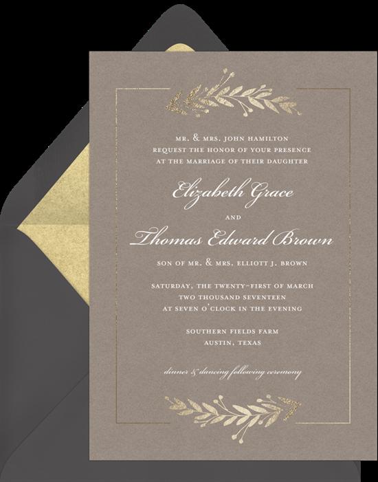 foil laurels invitations in creme  greenvelope