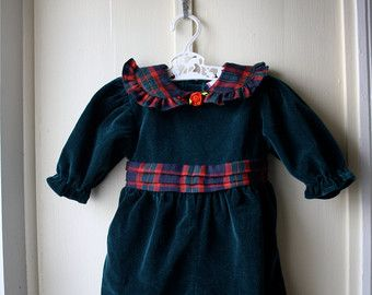 fc377d117e31 Vintage green velvet and red tartan baby romper   Christmas holiday romper    infant baby girl 0 to 6 months