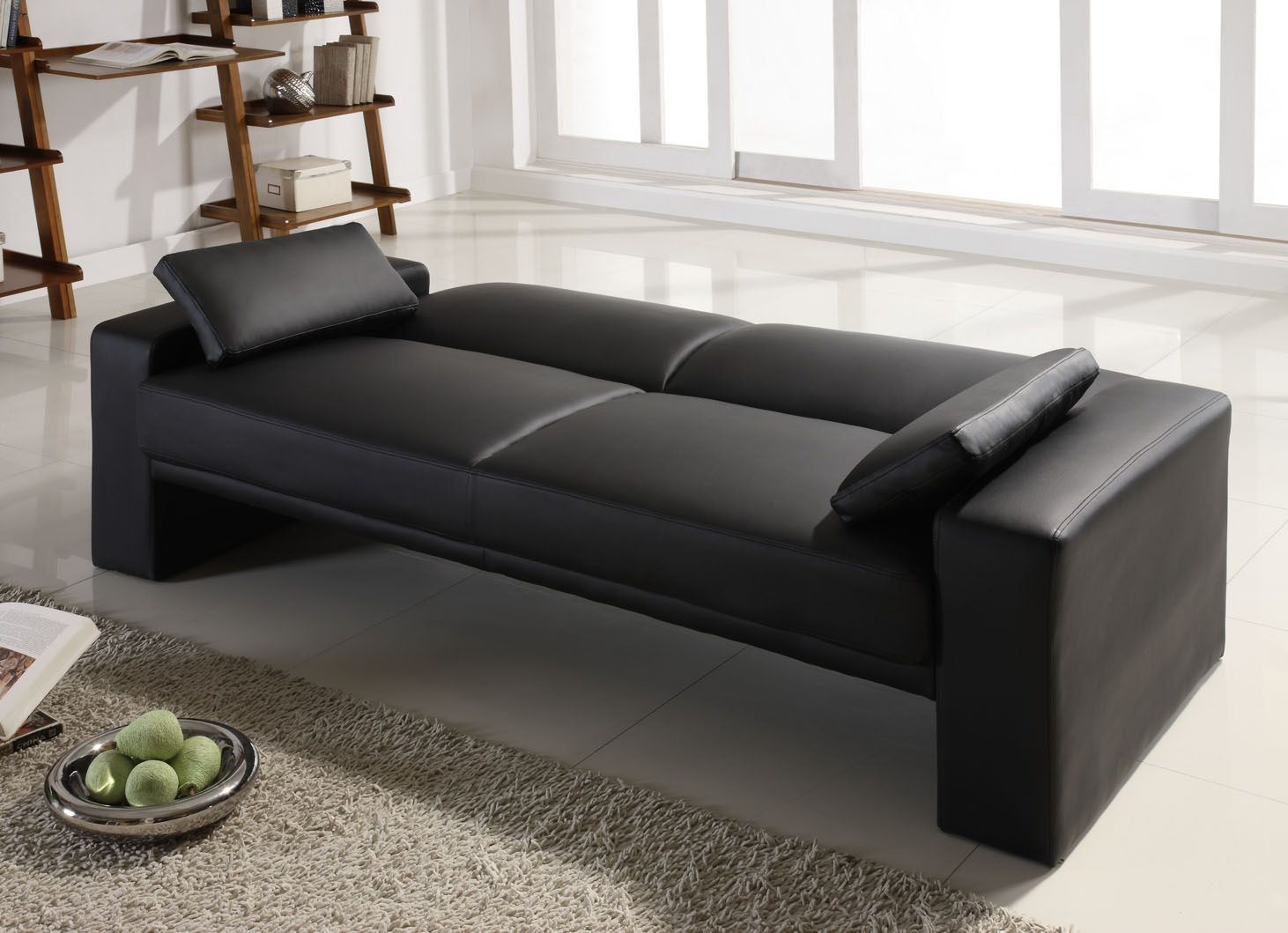 black leather sofa beds a charm and classic feel with modern