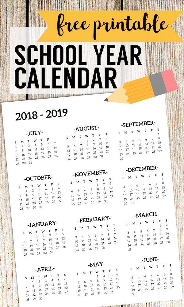 2018-2019 School Calendar Printable Free Template Полиграфия