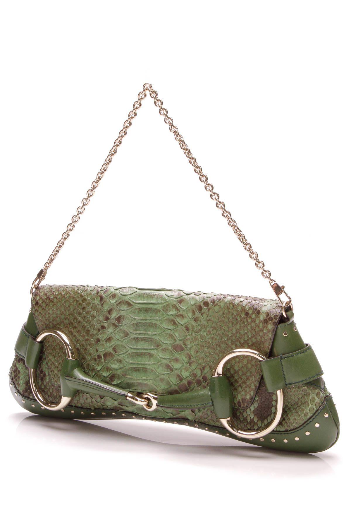 66e40d6ac32484 Large Horsebit Chain Clutch Bag - Green Python in 2019 | Gucci Glam ...
