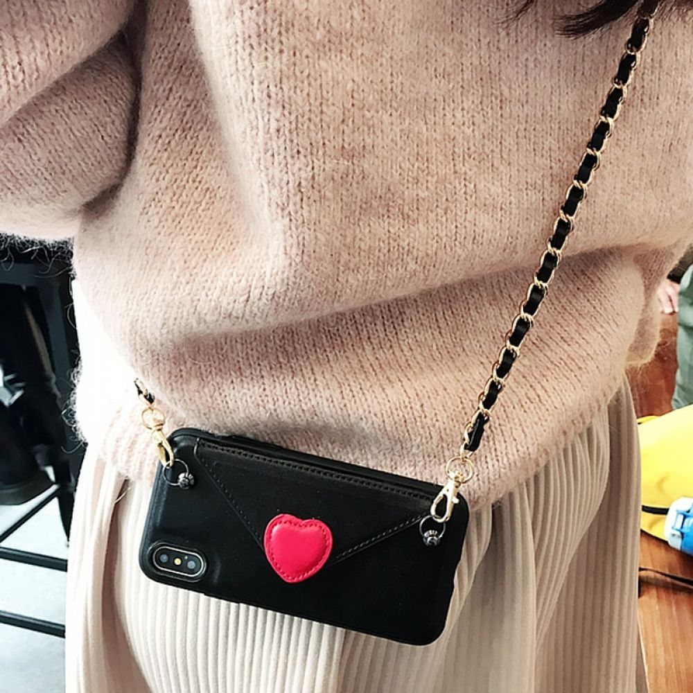 Heart crossbody wallet with shoulder strap case cover for
