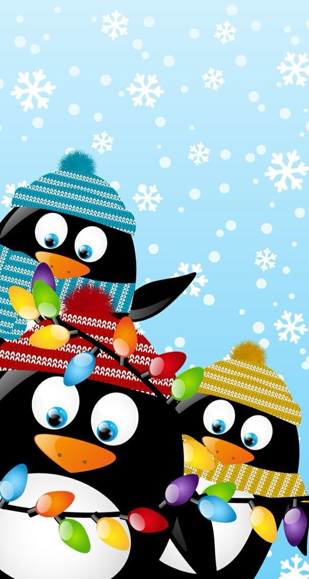 Three Cute Christmas Decorated Penguins Wallpaper Iphone Christmas Christmas Penguin Snowman Wallpaper