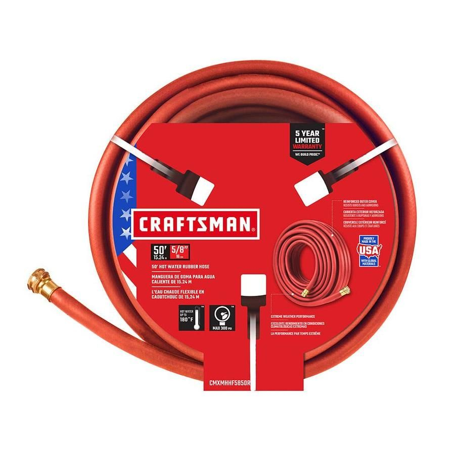 Craftsman 5 8 In X 50 Ft Premium Duty Red Hose Cmxmhhf5850rl In