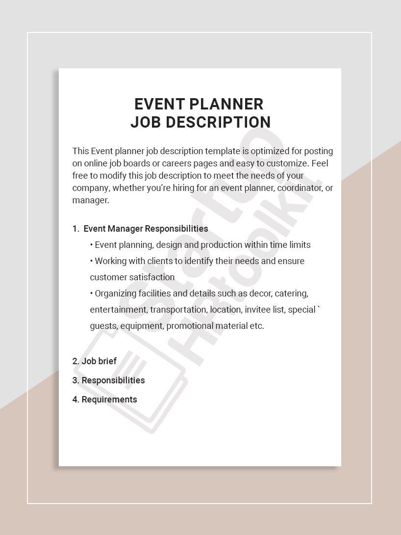 Event Planner Job Description Job Description Template Job Description Job Board