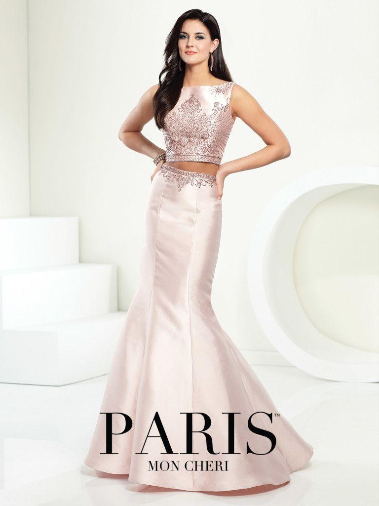 Paris keyhole back prom dress twopiece mikado dress set