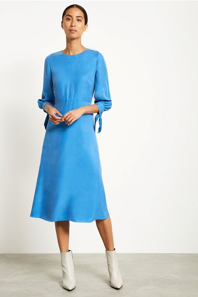532ca923289 Womens Mint Velvet Blue Cupro Midi Dress - Blue