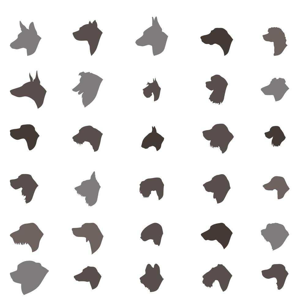 Dog Head Silhouette Icon Set Different Dos Breed Sign Dog Icon Dog Silhouette Dog Logo Design