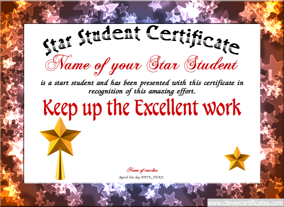 The star student certificate template lets you create downloadable the star student certificate template lets you create downloadable printable and shareable star student certificate designs using our html5 designer yelopaper