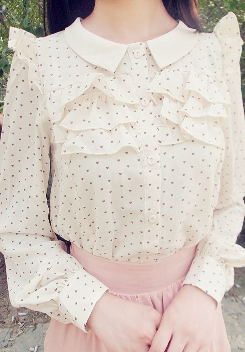 shirt - http://zzkko.com/n199430-intage-heartbreaking-day-with-peach-wood-ear-flower-small-pointed-collar-long-sleeved-shirt.html $17.63