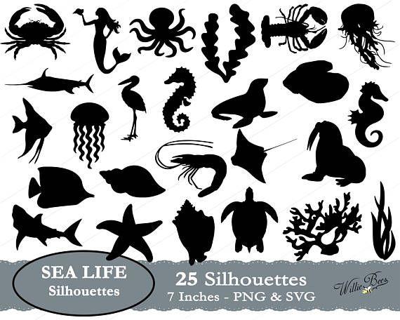 Sea Life Silhouette Underwater Clipart Fish Svg Mermaid Girl Seaweed Svg Octopus Image Lobster Sea Creature Digital Download Silhouette Clip Art Sea Life Silhouette