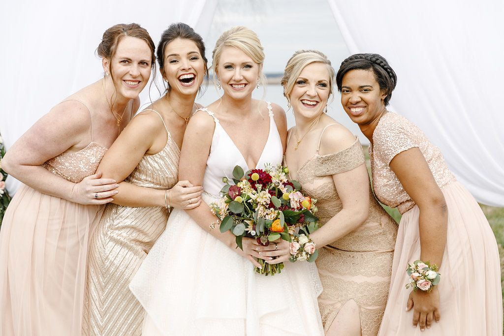 d291fe5d897 Blush and Gold Metallic and Neutral Bridesmaids  Dresses