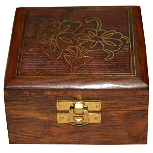 Handmade Jewelry Box Square Shape Wood Carving with Floral Brass