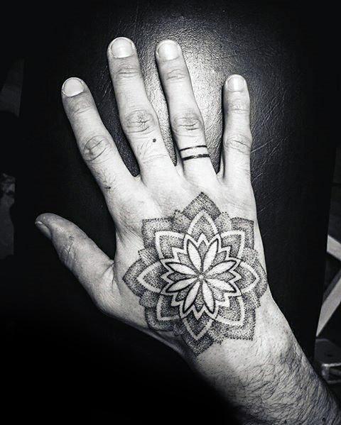Mens Cool Dotwork Flower Geometric Hand Tattoo Ideas Hand Tattoos Tattoos For Guys Hand Tattoos For Guys