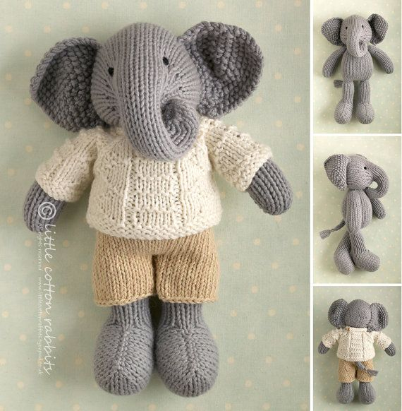 Toy knitting pattern for a boy elephant in a textured sweater ...