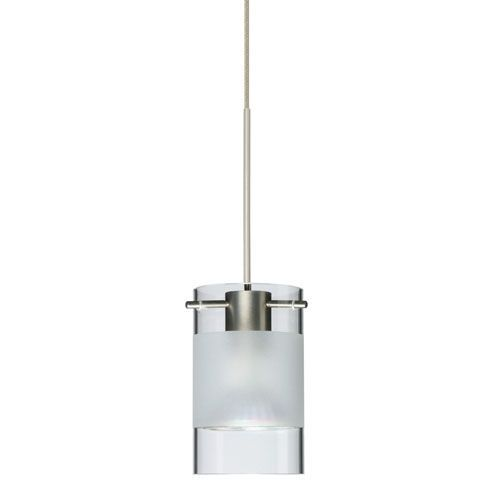 Scope satin nickel led mini pendant with flat canopy and clear and frost glass