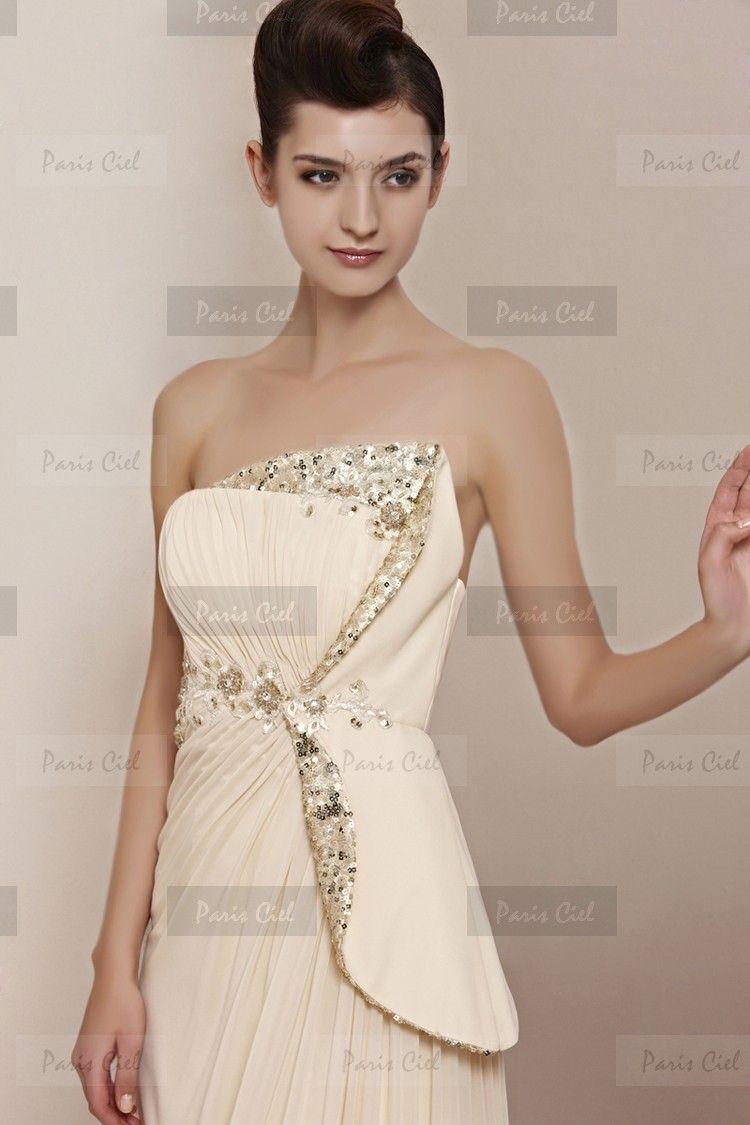 Sexy strapless long champagne evening dresses paris ciel dresses