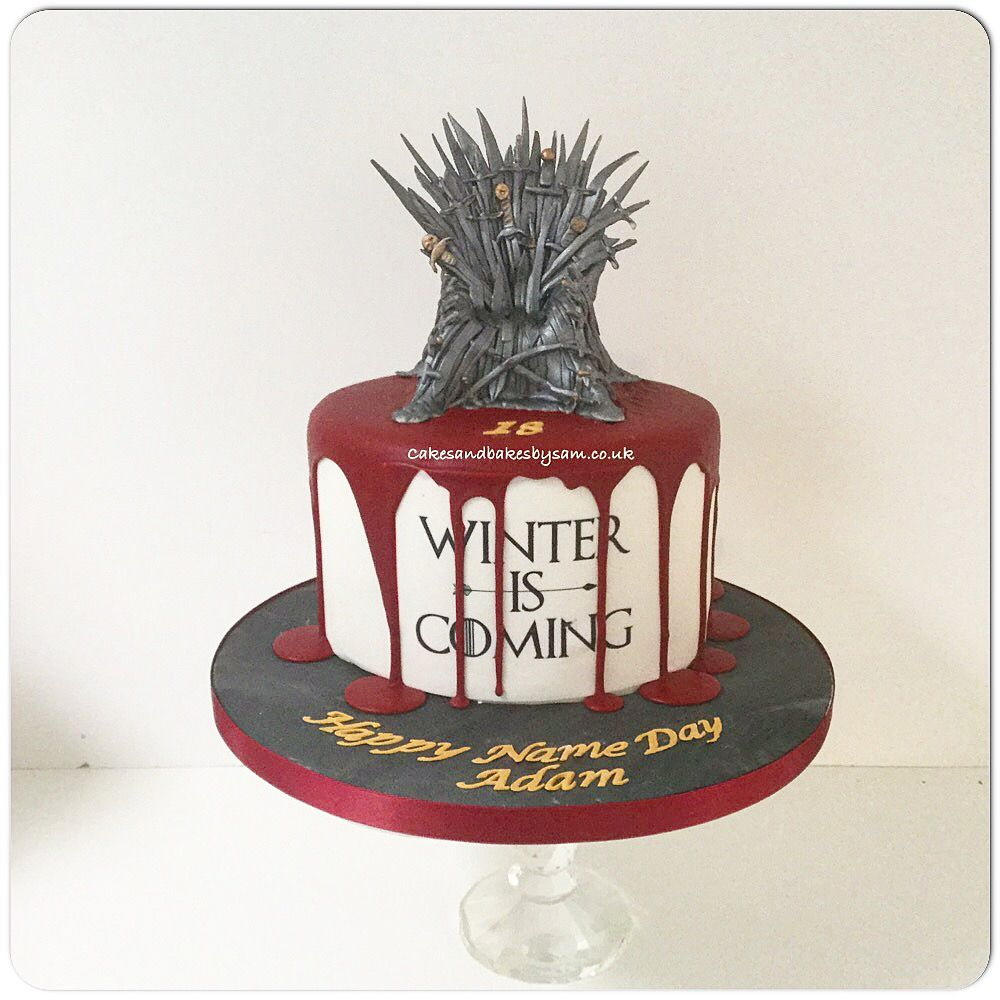 Winter is coming game of throne cake with edible iron throne