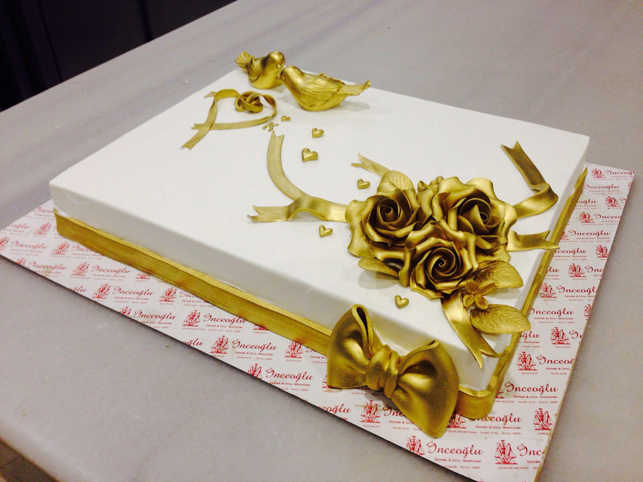 Gold Engagement cake