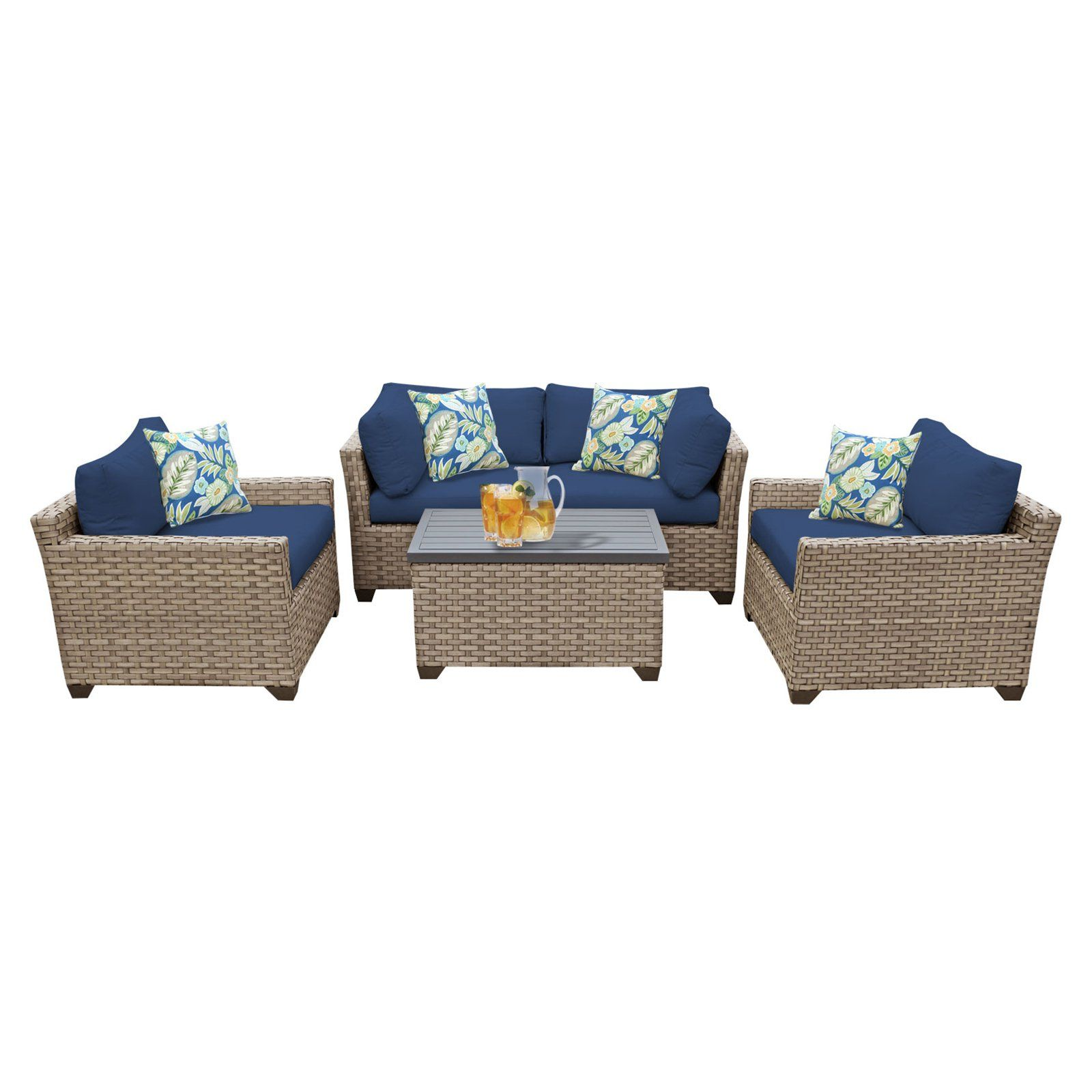 Outdoor Tk Clics Monterey Wicker 5 Piece Patio Conversation Set With Club Chair And 2 Sets Of Cushion Covers Navy Beige