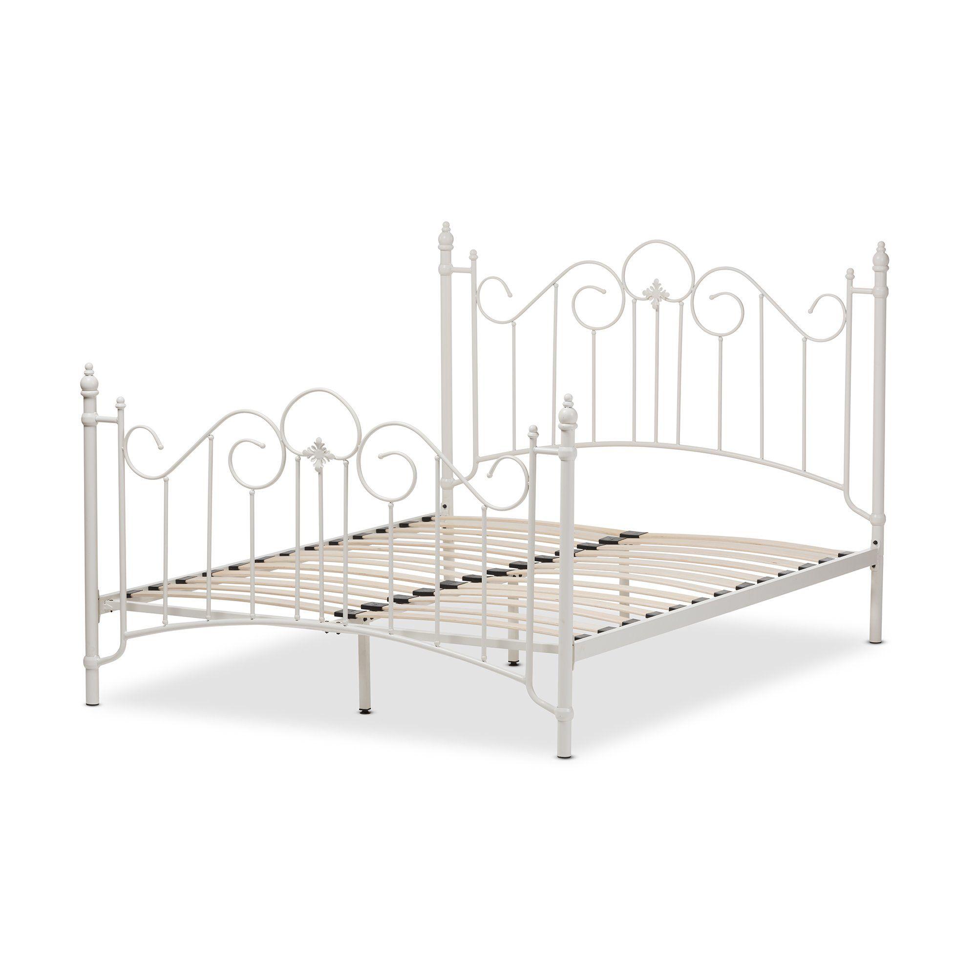 Baxton Studio Scarlett White Metal Queen Size Platform Bed