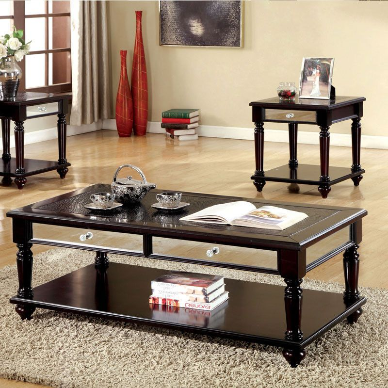 Horace Espresso Finish Piece Coffee End Table Set Espresso And - Espresso finish coffee table set