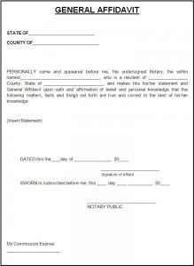 Affidavit Form  A To Z Templates