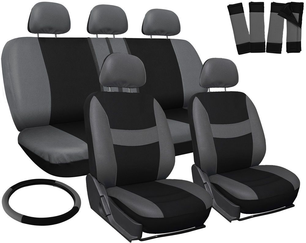 Car Seat Covers for Ford Focus Solid Black w// Steering Wheel//Belt Pad//Head Rests