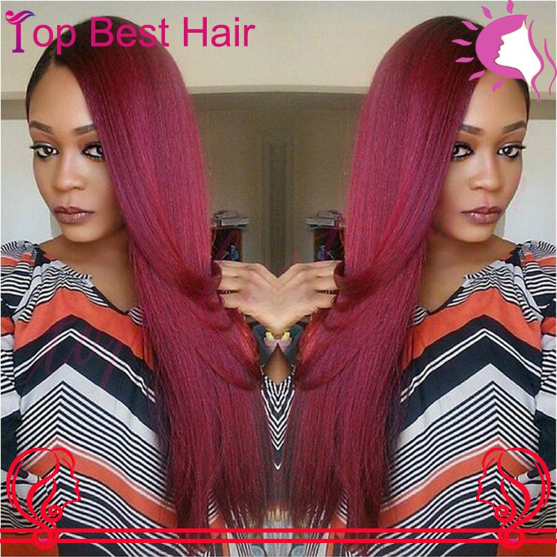 Cheap Red Straight Lace Front Wig 100 Human Naural Hair