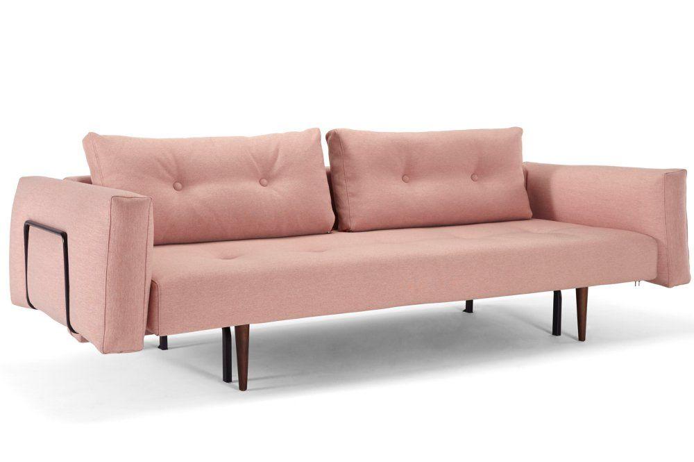 Canape Convertible Lit Recast Plus Rouge Corail 200 140 Cm Accoudoirs Larges Canape Convertible Design Canape Design Canape Convertible